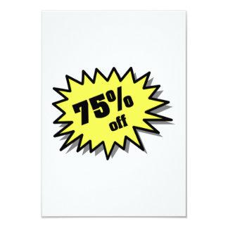 Yellow 75 Percent Off 3.5x5 Paper Invitation Card
