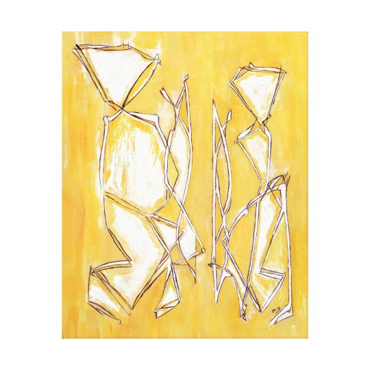 Yellow Abstract Art Couple Painting by MC Belkadi Canvas Print