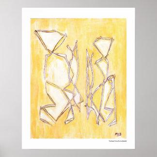 Yellow Abstract Couple Home Decor 16x20 Print