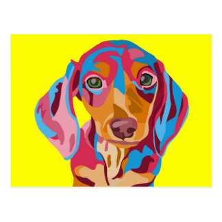 Yellow Abstract Dachshund Postcard