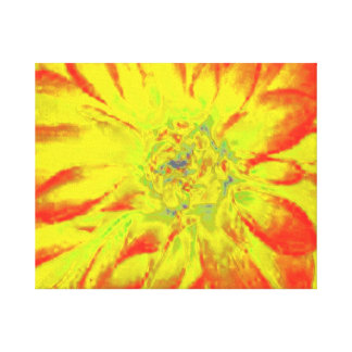 YELLOW ABSTRACT DAHLIA FLORAL FLOWER GALLERY WRAPPED CANVAS