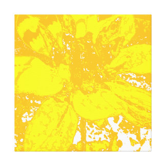 YELLOW ABSTRACT DAHLIA FLORAL FLOWER GALLERY WRAP CANVAS