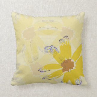 Yellow Abstract Daisy Flower Cushion