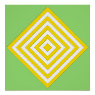 Yellow Abstract Diamond on Green Canvas Posters