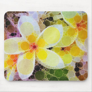 Yellow Abstract Flowers Mouse Pad