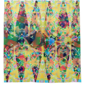 yellow ABSTRACT FORMS Shower Curtain