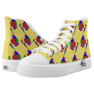 Yellow Abstract High Top Shoes