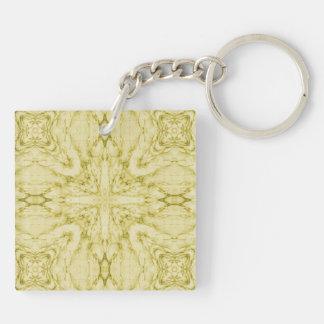 Yellow abstract pattern acrylic keychain