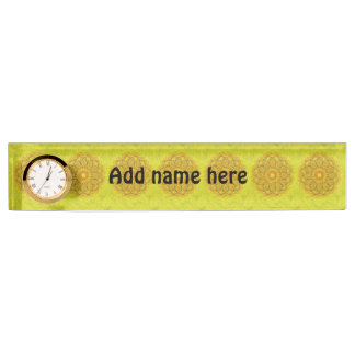 Yellow abstract pattern nameplate