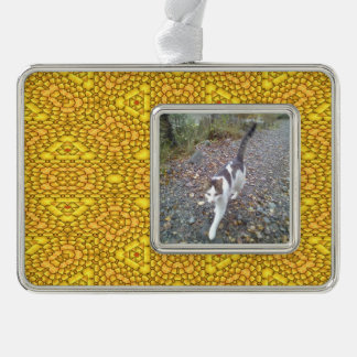 Yellow abstract pattern silver plated framed ornament