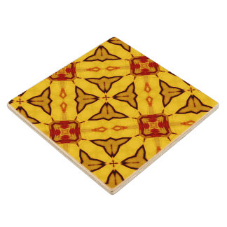 Yellow abstract pattern wood coaster