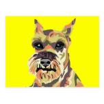 Yellow Abstract Schnauzer Postcard