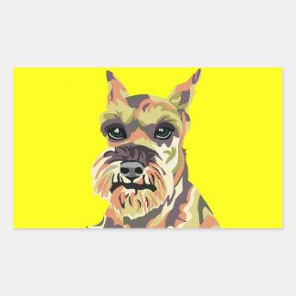 Yellow Abstract Schnauzer Rectangle Sticker