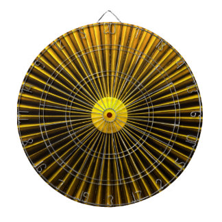 Yellow Abstract Sun Rays Amplifier Metal Cage Dartboard