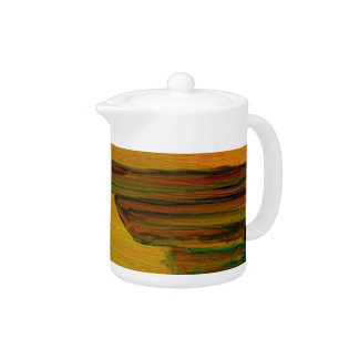 Yellow Abstract Tea Pot
