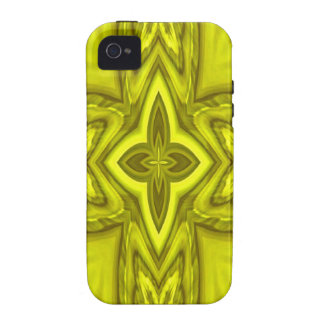 Yellow abstract wood cross iPhone 4/4S cover