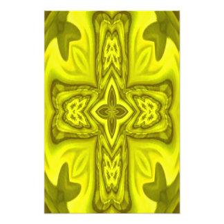 Yellow abstract wood cross photo art