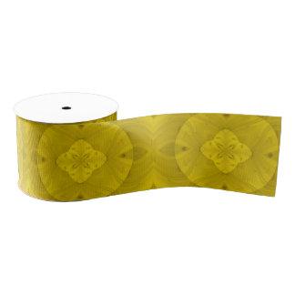 Yellow abstract wood pattern grosgrain ribbon