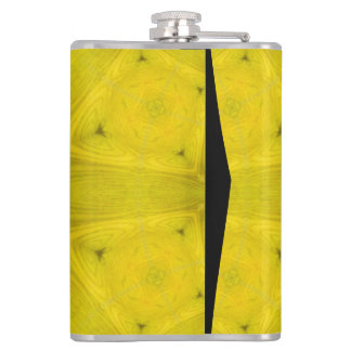 Yellow abstract wood pattern hip flask