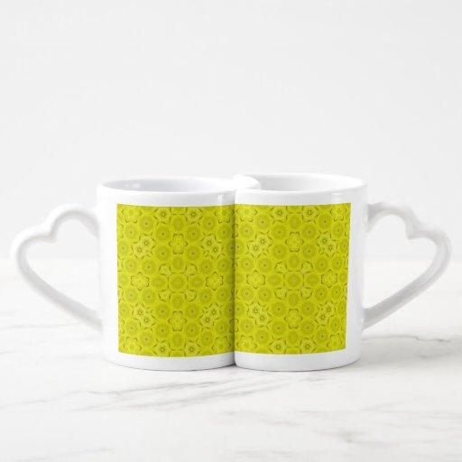 Yellow Abstract Wood Pattern Lovers Mugs