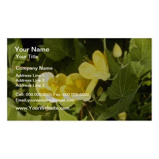 yellow Abutilon Species Flowering Maple flowers Business Card Template