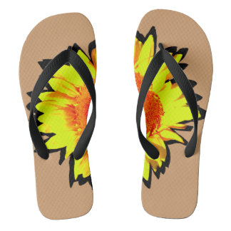 Yellow Accented Sunflower Flip Flops