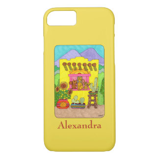 Yellow Adobe House & Cats Custom Name iPhone 8/7 Case
