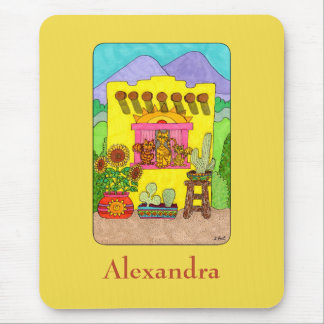 Yellow Adobe House & Cats Custom Name Mouse Mat