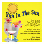 Yellow Adult Pool Party BBQ Invitations