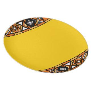 Yellow African Art Design plate