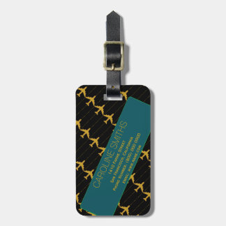yellow airplanes with blue-address-label luggage tag