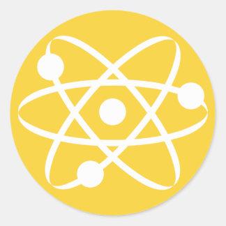 Yellow Amber Atom Classic Round Sticker