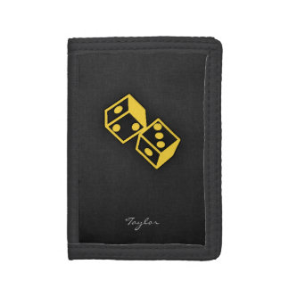 Yellow Amber Casino Dice Trifold Wallet