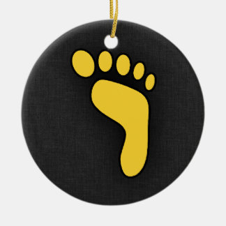 Yellow Amber Footprint Christmas Ornament