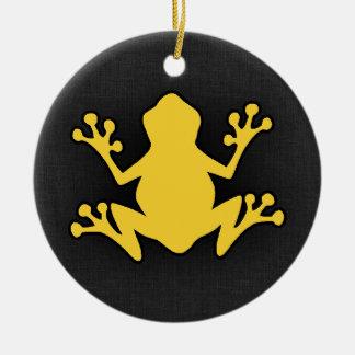 Yellow Amber Frog Round Ceramic Decoration