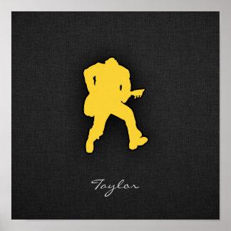 Yellow Amber Guitar Player Print