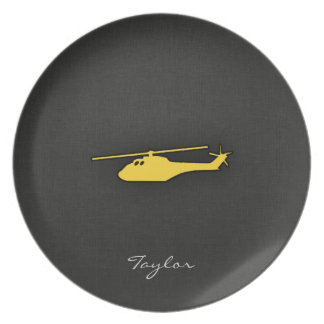 Yellow Amber Helicopter Plate
