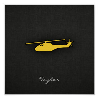 Yellow Amber Helicopter Poster