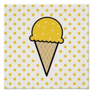 Yellow Amber Ice Cream Cone Poster