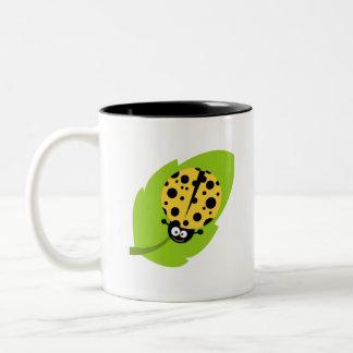 Yellow Amber Ladybug Two-Tone Coffee Mug