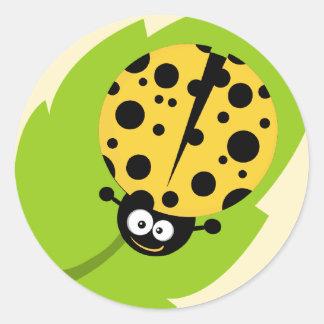 Yellow Amber Ladybug Round Sticker