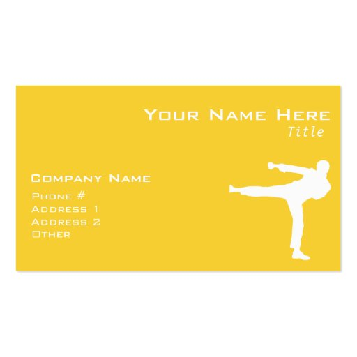 Yellow Amber Martial Arts Business Cards