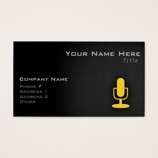 Yellow Amber Microphone Business Card