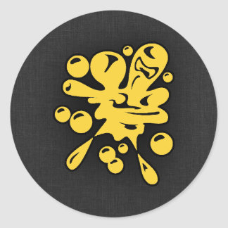 Yellow Amber Paintball Classic Round Sticker