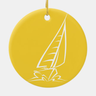 Yellow Amber Sailing Christmas Ornament