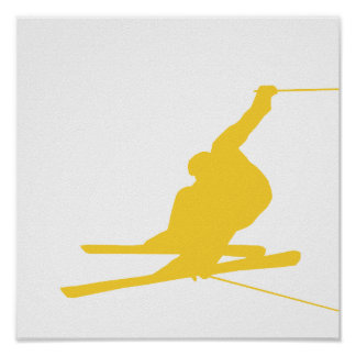 Yellow Amber Snow Ski Poster