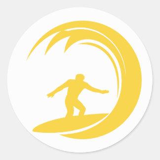 Yellow Amber Surfing Classic Round Sticker