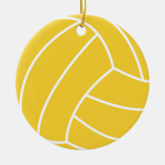 Yellow Amber Volleyball Christmas Ornament