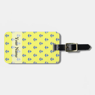 Yellow anchor pattern luggage tag