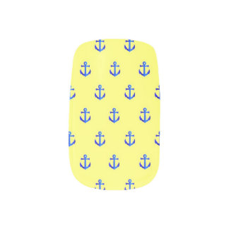Yellow anchor pattern minx nail art